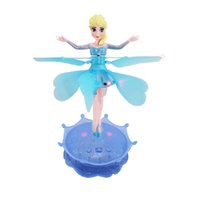 Wholesale Retail box Remote Control RC Helicopter Fly toys Frozen Elsa Angel Dolls Minion USB charge Infrared Induction Control Drone Kids Toy