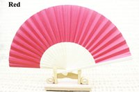 wedding umbrella - New bridal hand fans Fancy wedding gifts and favors Solid color paper inches Different colors available Drop shipping Hot sale