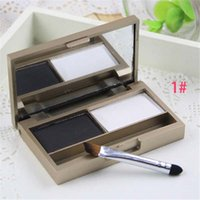 apply powder - Waterproof double color make up eyebrow enhancers shadow eyebrow powder Palette With Brush Apply to eyeshadow