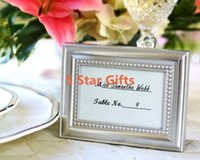 beaded picture frames - beaded photo frame wedding place card name holder picture frame Silver Color