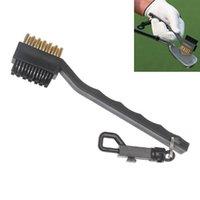 Wholesale 2 Sided Golf Brush Brass Wires Nylon Golf Club Brush Groove Cleaner Kit Black