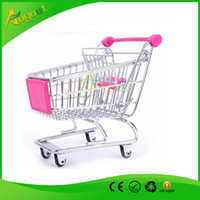 Wholesale Novelty Cute Cart Mobile Phone Holder Pen Holder Mini Supermarket office Handcart Shopping Utility Cart Phone Holder