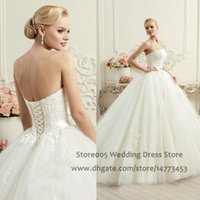 Cheap Customized Ball Gown Lace Strapless Wedding Dresses with Sash 2016 Corset Back Appliques Ivory White Bridal Gowns W4370