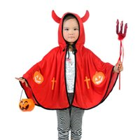 Wholesale Christmas Kids Cosplay Boys and girls horn demon cape Stage capes Halloween children clothing Ox horn demon shawl color