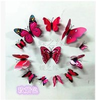 Wholesale Color PVC plastic magnetic refrigerator simulation stereoscopic d butterfly iron wall stickers