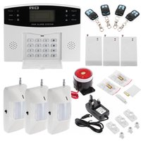 Wholesale US Stock Wireless LCD GSM SMS Home Security Alarm System Auto Dialer Burglar System Phone Remote control Out Alarms Motion Sensor