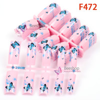 Wholesale 100pcs Butterfly Acrylic Nails and Pink Spot Patterns Pre Design False French Nail Tips Fake Acrylic Nails Art Salon Party Gils F472
