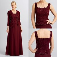 mother of the bride sequin dresses - 2016 Two Pieces Mother Of the Bride Dresses Square Neck Burgundy Chiffon With Long Sleeves Jacket Wedding Party Dress AL7533