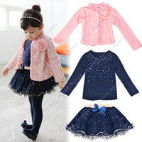 Wholesale Good Quality Set Baby Kids Children Girls Toddler Cute Flower Clothing Clothes Coat T shirt Skirt Tutu Dress Set Outfit SV009065