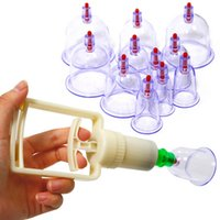 Wholesale 12pcs set Chinese BRAND Pull Out Vacuum Apparatus Cup Cupping Therapy Apparatus Body Massage Retail FG08159