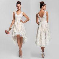 asymmetrical bridesmaid dresses - Vintage Full Lace Country Wedding Dresses V neck High Low Wedding Bridal Dresses Short Sleeveless Ivory Short Bridesmaid Gowns