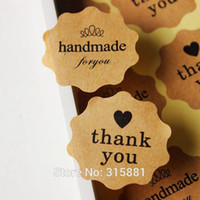 Wholesale Brown Kraft Thank You and handmade Seal Label Sticker gift Stickers