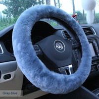 Wholesale DIY Plush Car Steering Wheel Cover black gray beige brown yellow steering wheel hubs fur wheel cover