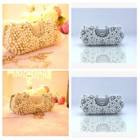 Wholesale Silver Clutch Bags For Prom - Full Pearls Beaded Bridal Hand Bags Silver Crystal Adorned One Shoulder Clutch Bags Rhinestone Beaded For Wedding Evening Prom Party Cheap
