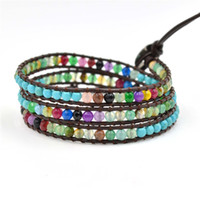 abalone food - High Quality Colorful Natural Agate Beads Wrap Genuine Leather Bracelet Fashion Factory Direct Hot Sale Bracelet