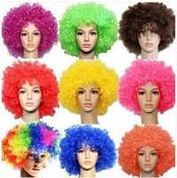 afro brazil - 200pcs CCA2333 Creative Halloween Party Afro Wigs Colorful Christmas Cosplay Hairs Clown Funny Synthetic Wig New Brazil Football Fans Wigs