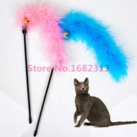 bells hairs - Turkey Hair Cat stick To Make A Cat s Pet Cat Toy Color Bright Hung With Bells Pet Dog Toys Animal Show Funny Cat stick markkk