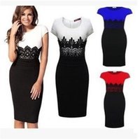 Wholesale Women s clothing Europe Style Ladies dress Celeb Evening Fitted Formal Party Pencil Bodycon black white patchwork Short