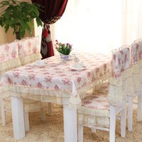 Wholesale red flower on pink back ground Set Lace Dining Chair Cloth Cushion Lace Chair Covers Chair covers