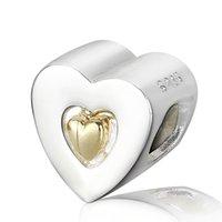 achat en gros de 925 smart-Perles intelligents argent 925 en forme de coeur Charms Fit for Snake Chain Bijoux Fashion Bracelet bricolage