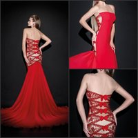 Reference Images Crew Chiffon Hot Red Formal Evening Dresses 2014 Tarik Ediz Sexy Long Mermaid Lace Backless Party Prom Gowns Special Occasion Dress LE114