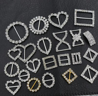Wholesale 20mm Round Rhinestone Crystal Buckles Brooches mm Bar Invitation Ribbon Chair Covers Slider Sashes Bows Buckles Wedding Supplies