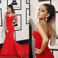 ariana grande dress - Festival Red Mermaid Evening Dresses Ariana Grande Spaghetti Open Back Court Train Satin Celebrity Party Dresses