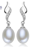 Wholesale chaming silver natural white pearl lady s earings lhpmz jetf