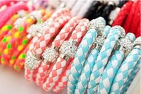 Wholesale 16 Color New Shamballa PU Leather Bracelets Magnetic Clasp Bracelet CZ Disco Crystal Magnetic bracelets