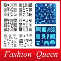 Wholesale 5pcs New Square Nail Art Plates Template Steel Nail Stamp Stencil DIY Beauty Polish Print Sexy Design Nail Template