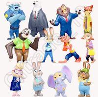 Wholesale 12pcs cm Zootopia Anime Figure Mini Toys Set Cartoon Nick Wilde Judy Hopps PVC Toys Kids Gift Hot JJA06