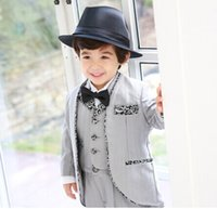 Wholesale 2016 Lovely Kids Formal Wear Suits Birthday Party Business Suits Boy s Blazer Tuxedos Jacket Vest Pants Bow Tie A6