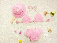 Wholesale New products baby girls Swimwear lace bikini two piece children swimsuit with hat kids bathing suit candy color girls Swimwear