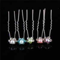 Wholesale Delicate Women Fashion Hair Bands Wedding Bridal Hair Pin Clear Crystal Rhinestone Pearl Hairpins Clips Hair Care Styling Barrettes Jewelry