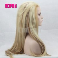 Wholesale Blonde lace front synthetic wig heat resistant ombre long Straight Bouncy straight glueless cheap wigs for women High quality