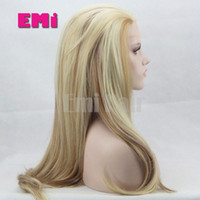 Wholesale Long Lace Front Heat Wig - Blonde lace front synthetic wig heat resistant ombre long Straight Bouncy straight glueless cheap wigs for women High quality