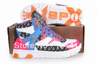 Wholesale Korea SPX NE1 Endorsement High Cut Women Sneakers High Platform Flat Shoes Hip Hop Dancing Shoes Pink Blue