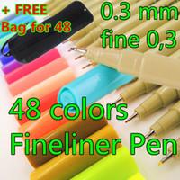 Wholesale 0 Mm Colors Fineliner Pens Bag Super Fine Draw not Stabilo Point Marker Pen Water Based Ink not STAEDTLER