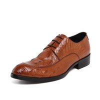 band crocodiles - New Business Men s real leather Dress Formal Shoes Crocodile Embossed Lace up Party Gift black Or Brown H036533 Size US