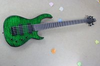 Wholesale High Quality MODULUS Strings bass with Active Pickups green Water Ripple Bass Guitar In Stock