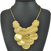Wholesale statement necklaces NEW Antique gold Sterling Silver Color necklace multilayer Wafer pieces snake bone chain Women Jewelry Necklaces