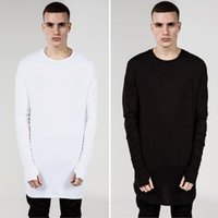 Wholesale 2015 New Fashion Thumb Hole Cuffs Long Sleeve Tyga Swag Style Man High Low Side Split Hip Hop Top Tee T Shirt Crew T shirt Men Clothes