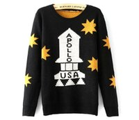 Wholesale Amy European And American New Winter Woman s The Apollo Rockets Star Jacquard Sweater Loose Turtleneck Sweater