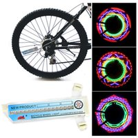 lc - Waterproof Colorful RGB LED Bicycle Wheel Lights LC pairs Double Sided leds Pattern Rainbow Bike Spoke Cycling Signal Lamp