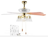 Wholesale High Quality Modern Ceiling Fan Lights Wood Leaves Living room Bedroom lighting Knob Switch