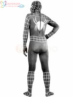 Wholesale High Quality Halloween Carnival Party Lycra Spandex Black Spiderman Costume Outfit Zentai with White Stripes