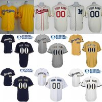 milwaukee - Personalized Milwaukee Brewers jersey custom Stitched authentic baseball jerseys cheap Customized white red grey size S XL