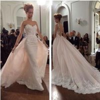arabian wedding - Arabian Detachable Skirt Wedding Dresses Bridal Gowns with Illusion Sheer Jewel Neck New Ivory Lace Vestido de Novia Backless Plus Size