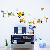 Wholesale Cartoon Bus Cars Wall Sticker Living Room Kids Room PVC Removable Vinyl Art Home Decor Mural Decal XY8051
