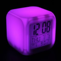 Wholesale 2pcs Cube Glowing Led Colors Changing Digital Alarm Clocks Display Time Date Week Temperature WCS_487